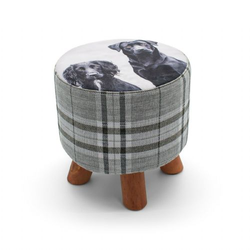 ROUND OTTOMAN FOOTSTOOL FOOTREST POUFFE PADDED CHAIR SEAT STOOL - DOG 28 x 28cm
